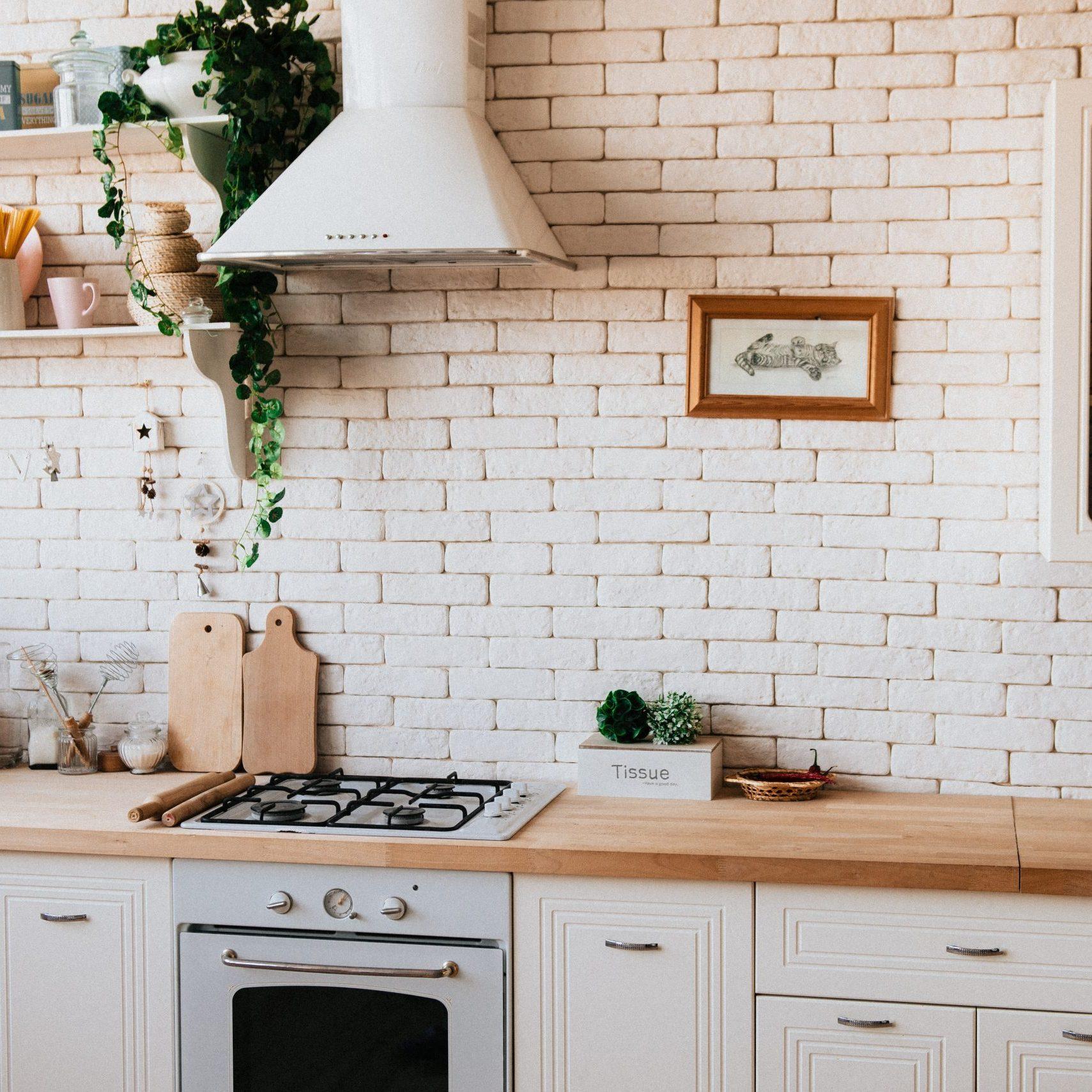 white brick kitchen
